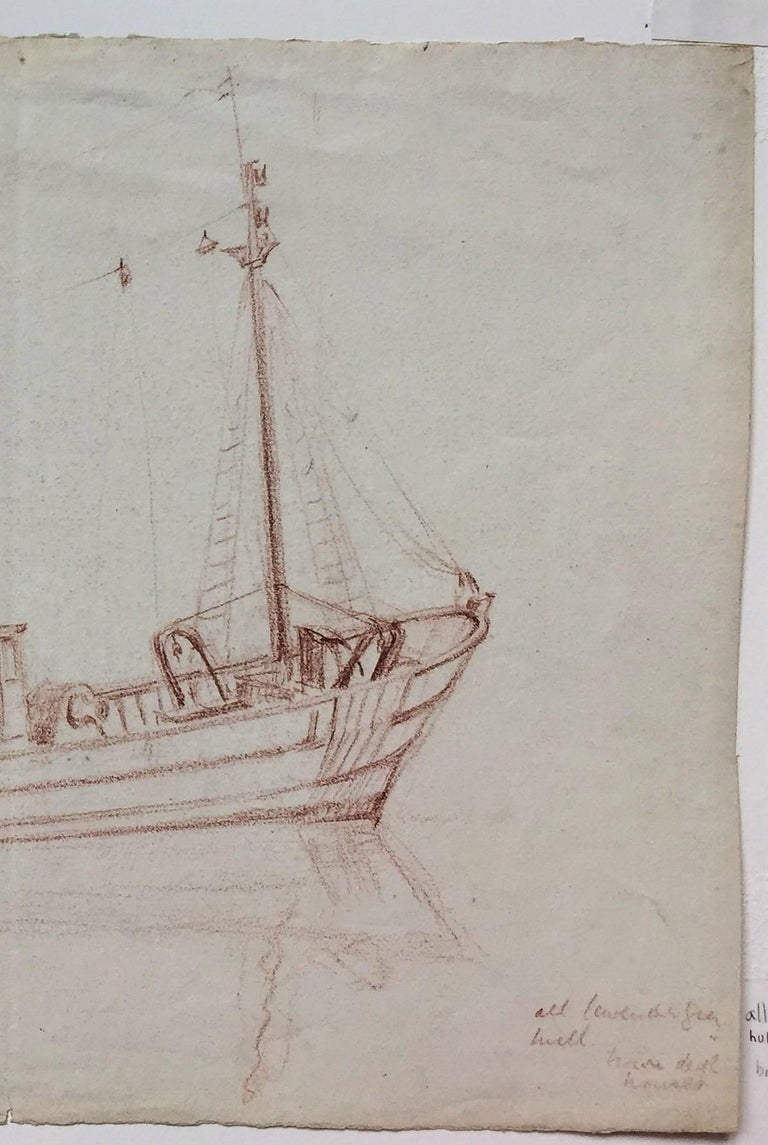 Thames Barge. c. 1915. Russet pencil drawing. 10 3/4 x 14 3/8. Provenance: a collection of Smart etchings, drawings and watercolors. Drawn on cream wove paper with deckle edges on two sides. Vertical centerfold and unobtrusive scattered foxing.
