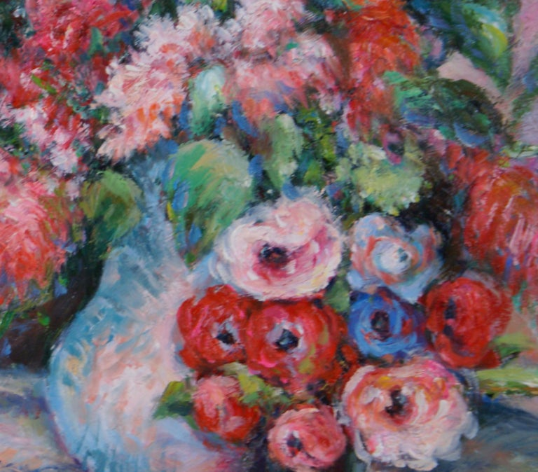 Pair of Floral Still Life Paintings For Sale 1