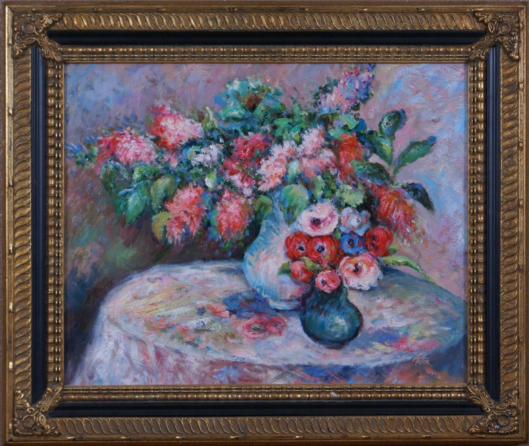 Pair of Floral Still Life Paintings - Gray Landscape Painting by Matton
