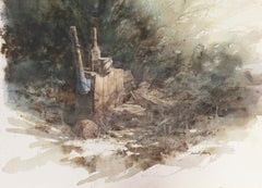 'The Splitting Log', Watercolor