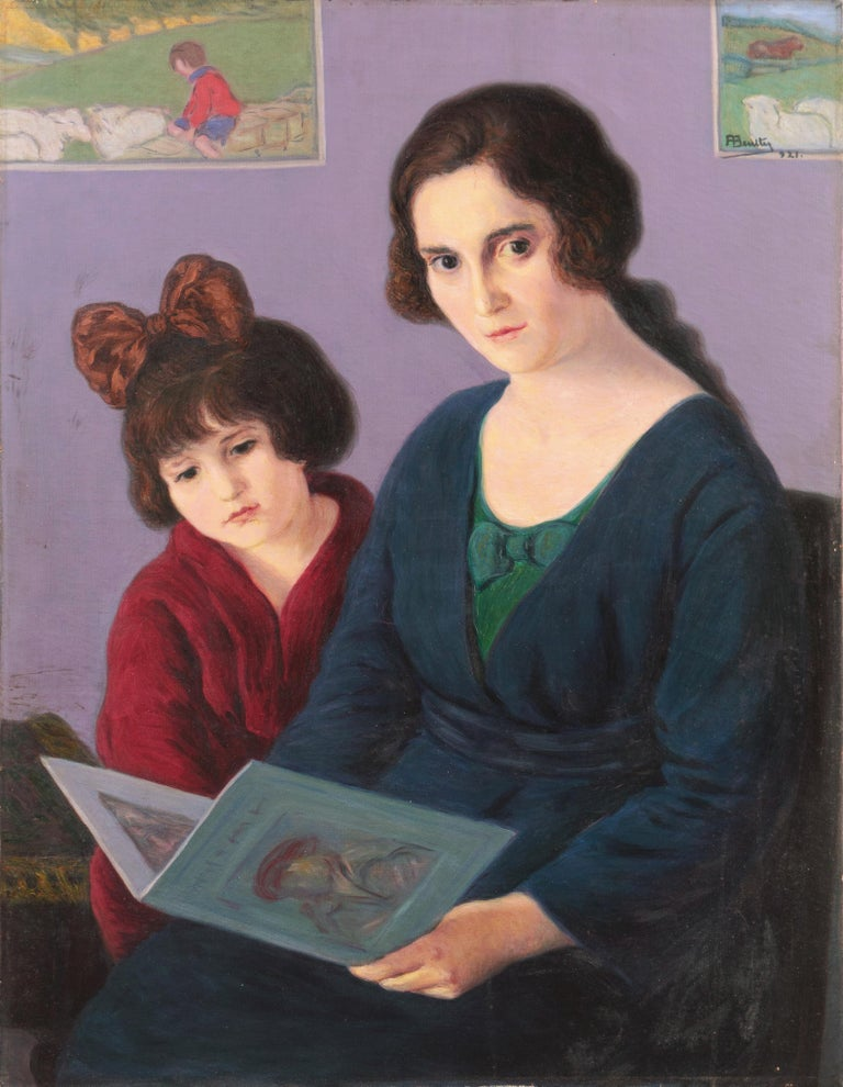 Arbo Francisco Benitez Portrait Painting - 'Mother and Daughter Reading', Large Argentine oil