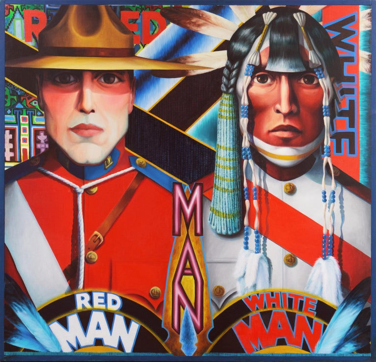 """A substantial figurative oil painting showing two figures, a Royal Canadian Mounted Police man and a Native American warrior.   Signed upper left, """"J.F. Scott"""" and dated 1979.  Framed in a complementary, hand painted wood frame created by the"""