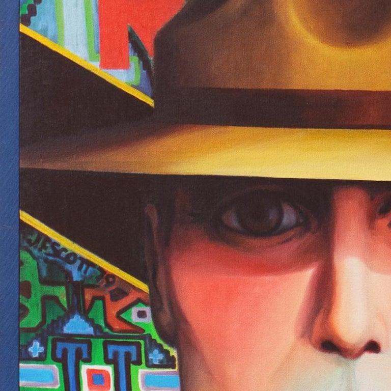 Monumental Modernist Pop Art Figural Oil, RCMP, First Nation, Native American For Sale 1