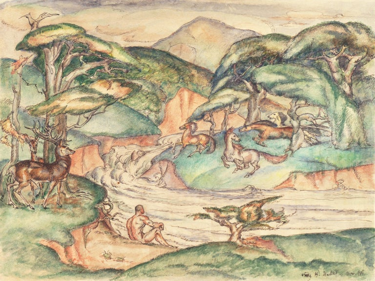 A delicate, Art Deco derived, figural landscape showing a man seated on a riverbank with a stag standing in a copse of trees and wild horses playing in the distance.  Signed lower right, 'Kay H. Nebel' for Kay Heinrich Nebel (German, 1888-1953) and