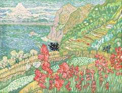 Flower Beds in Izu   (Japanese, Wood Engraving, Wood Block, Mt. Fuji )