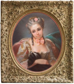 Young Lady with a Spaniel   (Rococo, pastel, Louis XV, dog)