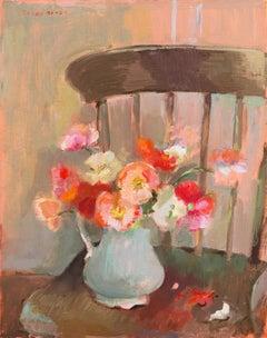 Post-Impressionist oil, 'Still Life of Poppies', Woman artist, PAFA, Paris