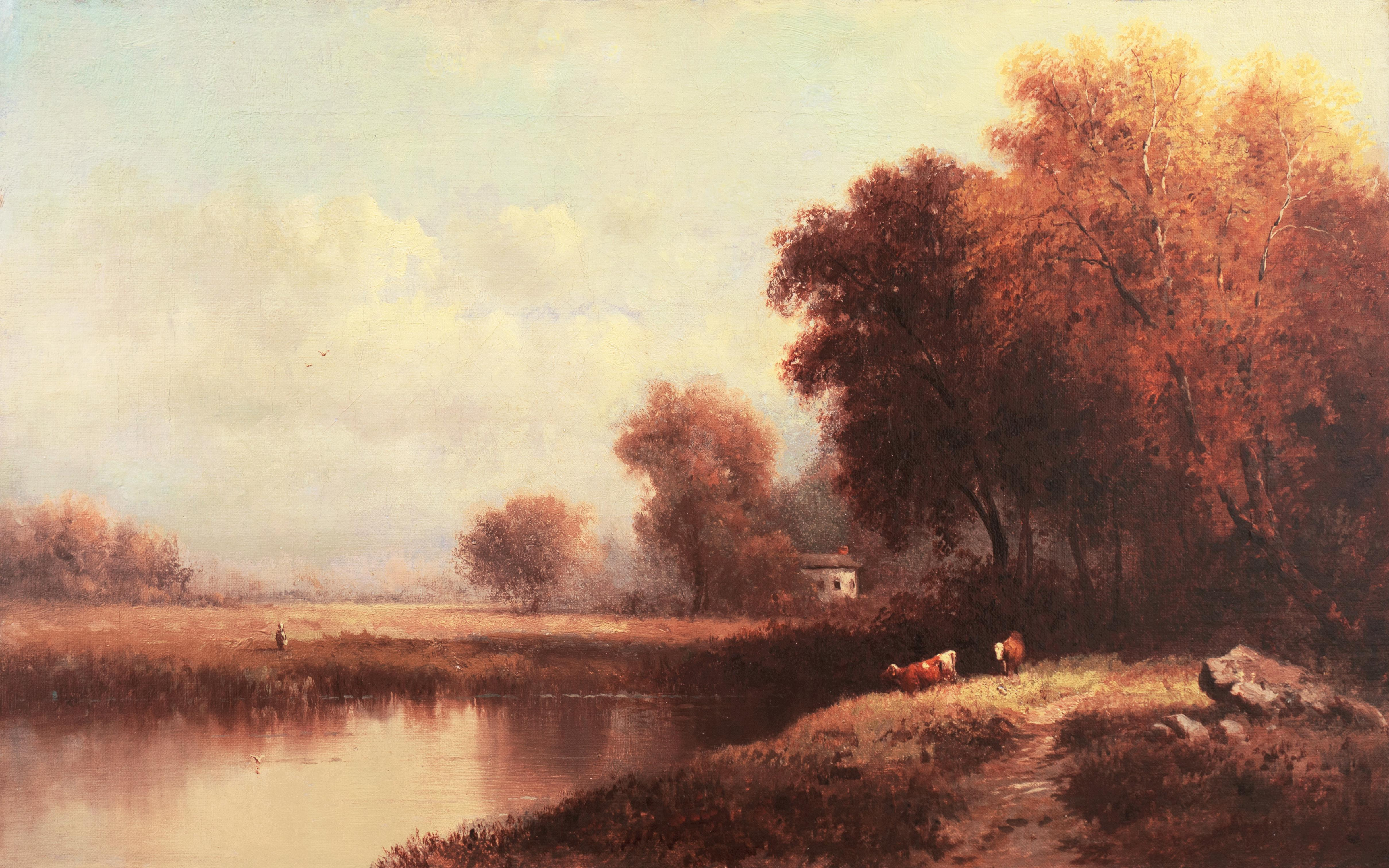 'Evening, River Landscape with Cattle', Barbizon, French School Oil