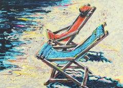 'Deckchairs on the Beach', Hand-Colored Screenprint