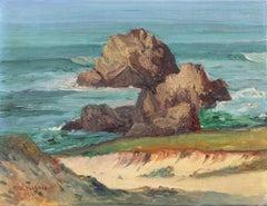 'View of Monterey Bay', Early California Plein Air Seascape oil