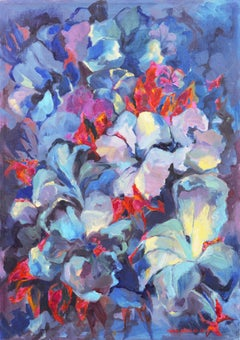 Post-Impressionist Still Life, 'Floral Abstract, Blue and Coral'