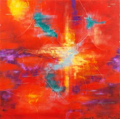 'Abstract in Coral and Scarlet', Woman Artist, Pacific Grove Art Association