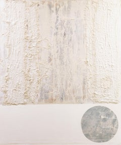 Square and Circle  (British, tonalist, Anselm Kiefer, cream, white, grey)