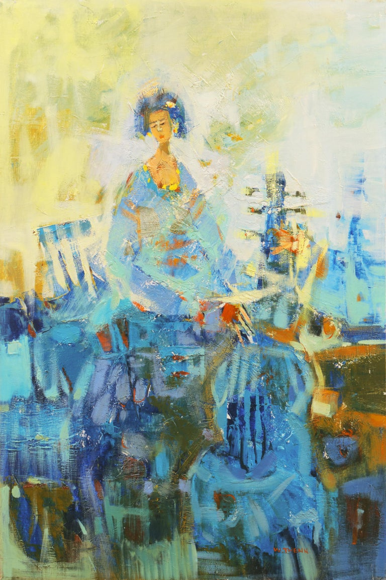 R. Twenn Figurative Painting - 'Young Cellist', Large Post Impressionist Figural Oil of a Woman with a Cello