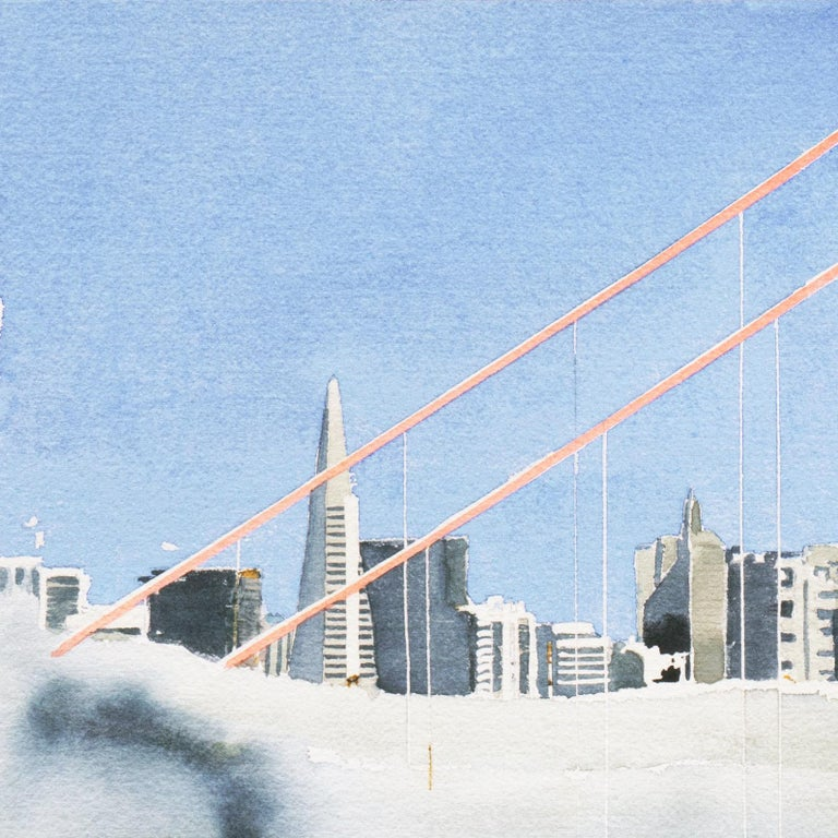 A substantial and elegant, Modernist watercolor on Arches laid paper, showing a view of the towers of San Francisco's Golden Gate Bridge rising above the fog.  Signed lower right, 'G. Wise' and painted circa 1980.  Sheet Dimensions: 22.5 H x 30.25 W