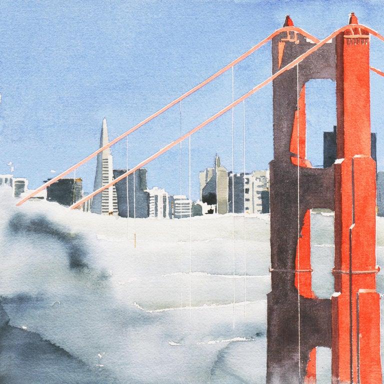 'San Francisco Golden Gate Bridge', California Architecture - Blue Landscape Art by G. Wise