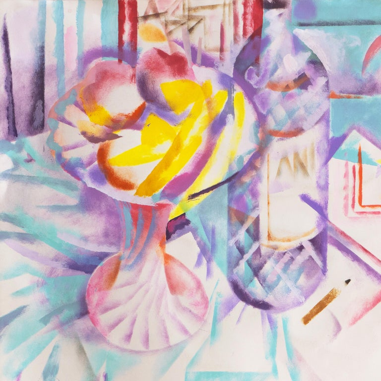 Still Life with Pastis and Peaches (Anis, Lace tablecloth, Futurism, Prismatism) For Sale 2