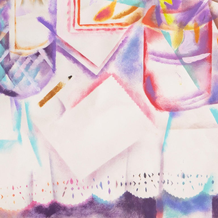 Still Life with Pastis and Peaches (Anis, Lace tablecloth, Futurism, Prismatism) For Sale 6