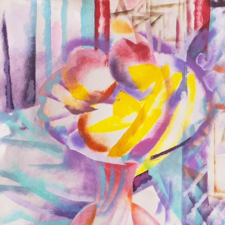 Still Life with Pastis and Peaches (Anis, Lace tablecloth, Futurism, Prismatism) For Sale 8