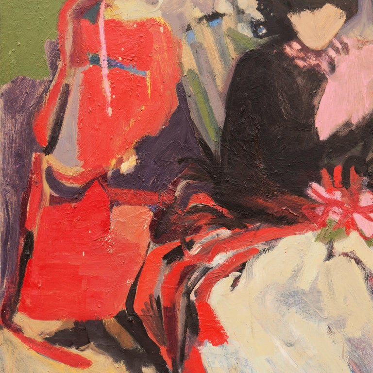 A substantial oil painting of two women shown adjacent and seated and painted in bravura Expressionist style with a subtle and complex palette by an intuitive, bravura hand.   Signed lower right, 'B. Curtice Hitchock' for Beverly Curtice Hitchcock