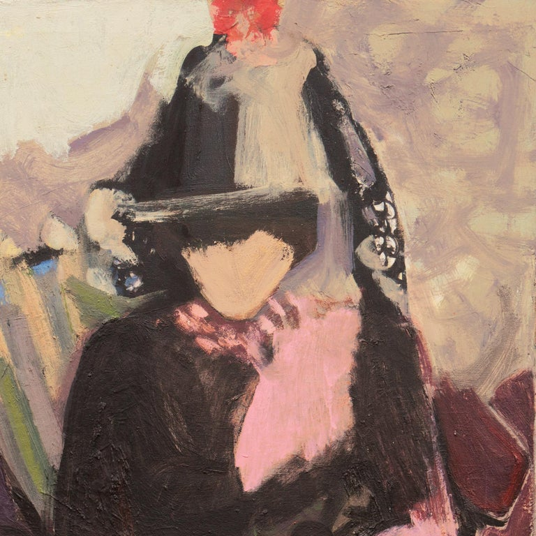 'Two Women Seated', Large San Francisco Bay Area Expressionist oil, Woman Artist - Post-Impressionist Painting by Beverly Curtice Hitchcock