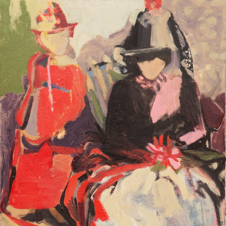 'Two Women Seated', Large San Francisco Bay Area Expressionist oil, Woman Artist For Sale 2