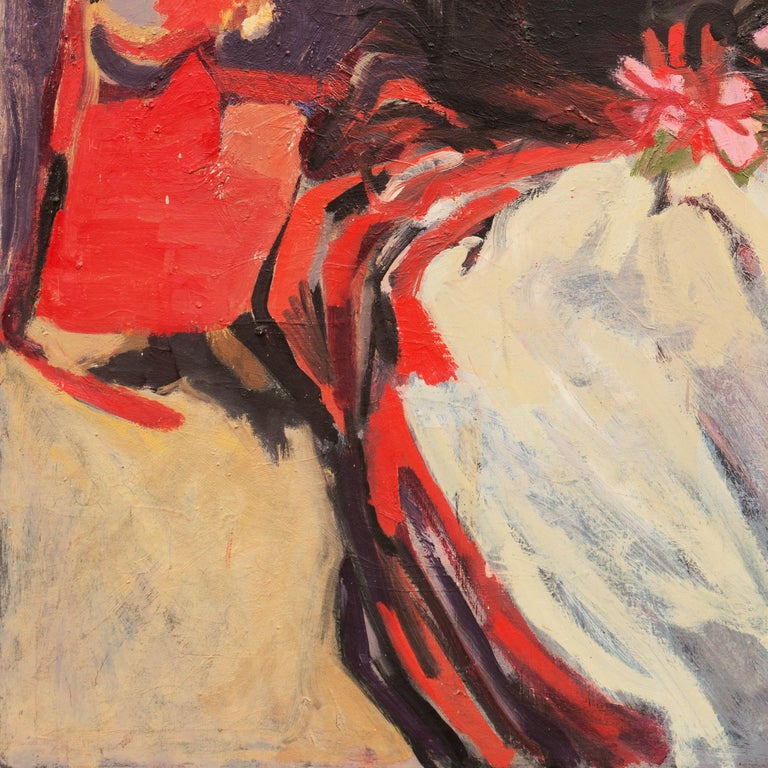 'Two Women Seated', Large San Francisco Bay Area Expressionist oil, Woman Artist For Sale 1