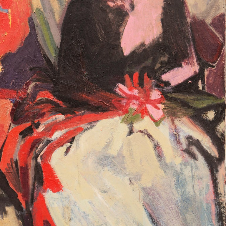 'Two Women Seated', Large San Francisco Bay Area Expressionist oil, Woman Artist For Sale 3