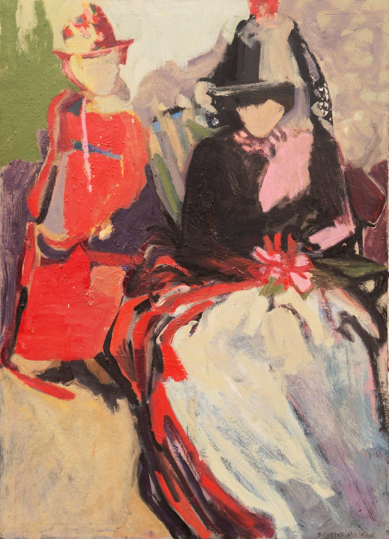Beverly Curtice Hitchcock Figurative Painting - 'Two Women Seated', Large San Francisco Bay Area Expressionist oil, Woman Artist