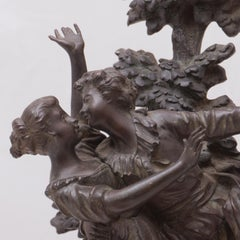 'The Kiss', Two Young Lovers Embracing, French Lost Wax Bronze Figural Group