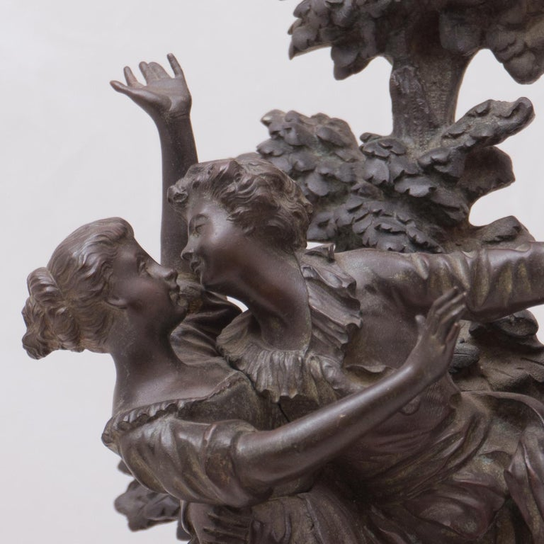Georges Flamand Figurative Sculpture -  'The Kiss', Two Lovers Embracing, Bronze Figural Group after Fragonard
