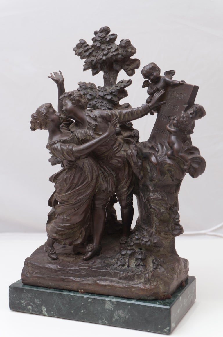 'The Kiss', Two Lovers Embracing, Bronze Figural Group after Fragonard - Sculpture by Georges Flamand