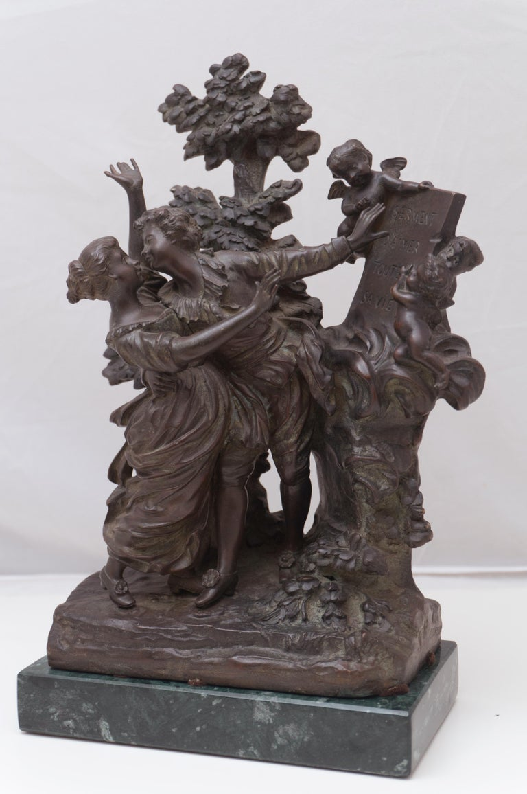 'The Kiss', Two Lovers Embracing, Bronze Figural Group after Fragonard - Gold Figurative Sculpture by Georges Flamand
