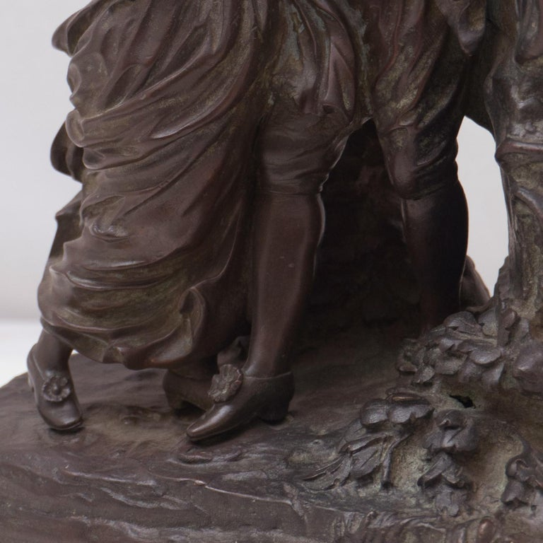 'The Kiss', Two Lovers Embracing, Bronze Figural Group after Fragonard For Sale 2