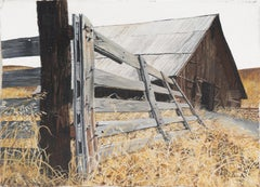 'The Old Wooden Gate', Americana, rustic landscape with Barn, 1970's