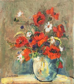 'Still Life of Red Poppies', Mid-century California Expressionist, Woman artist
