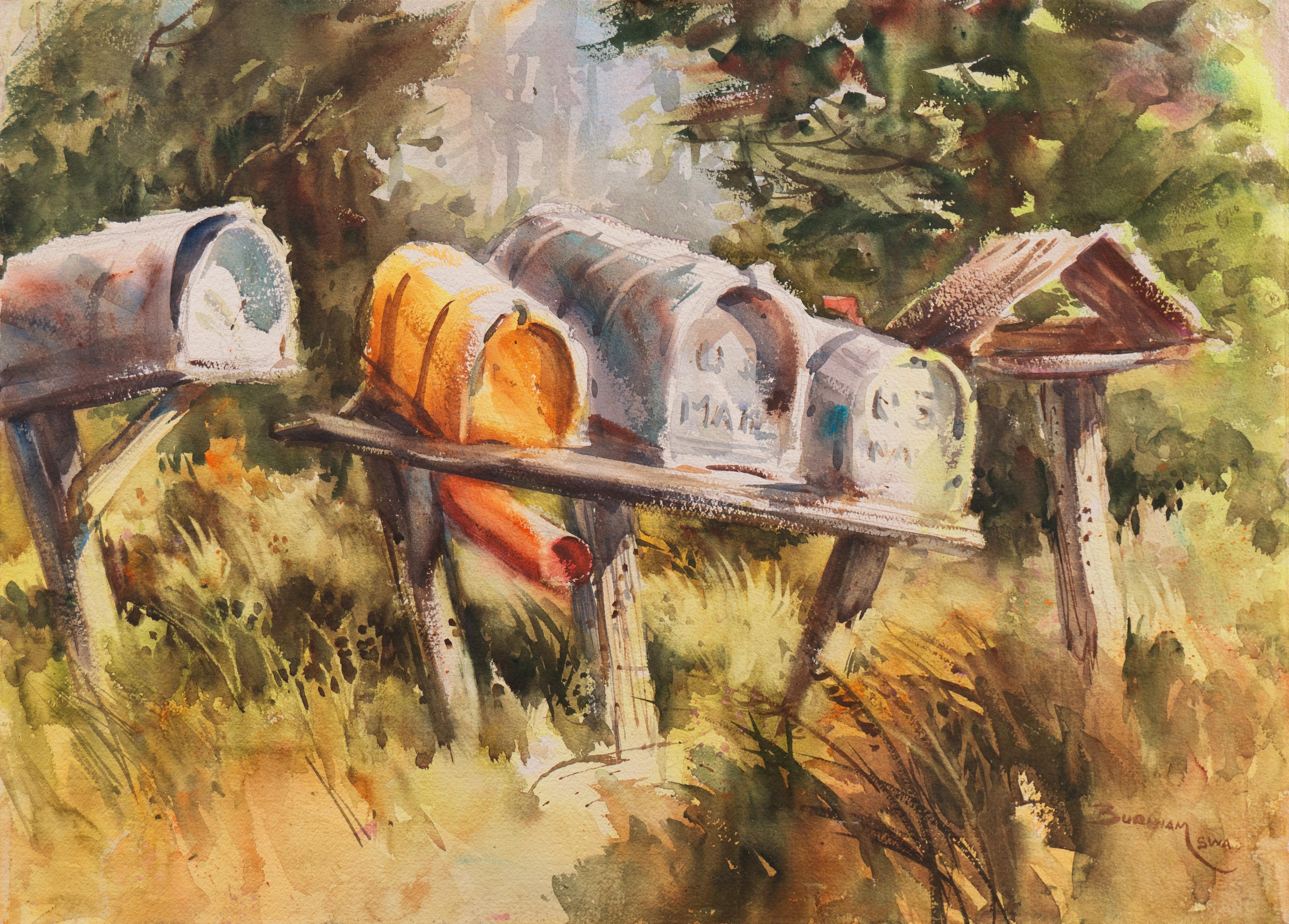 'Rural Mailboxes', California Woman Artist, Society of Western Artists