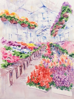 'Greenhouse with Flowers', California Woman Artist, American Watercolor Society