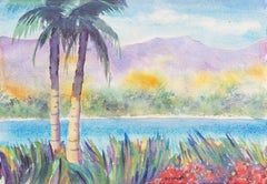 'Tropical Lagoon', Impressionist Landscape with Palm Trees and Bougainvillea
