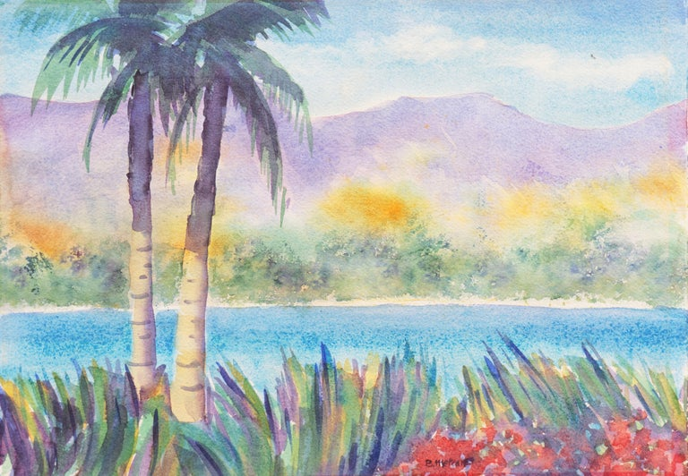 B. Metcalf Landscape Art - 'Tropical Lagoon', Impressionist Landscape with Palm Trees and Bougainvillea