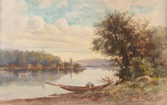 'A Picnic by the River', Early California Watercolorist