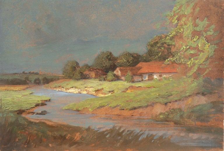 Endre Komaromi-Kacz Landscape Painting - 'Hungarian Landscape with Farmhouse', Munich School, National Academy, Budapest