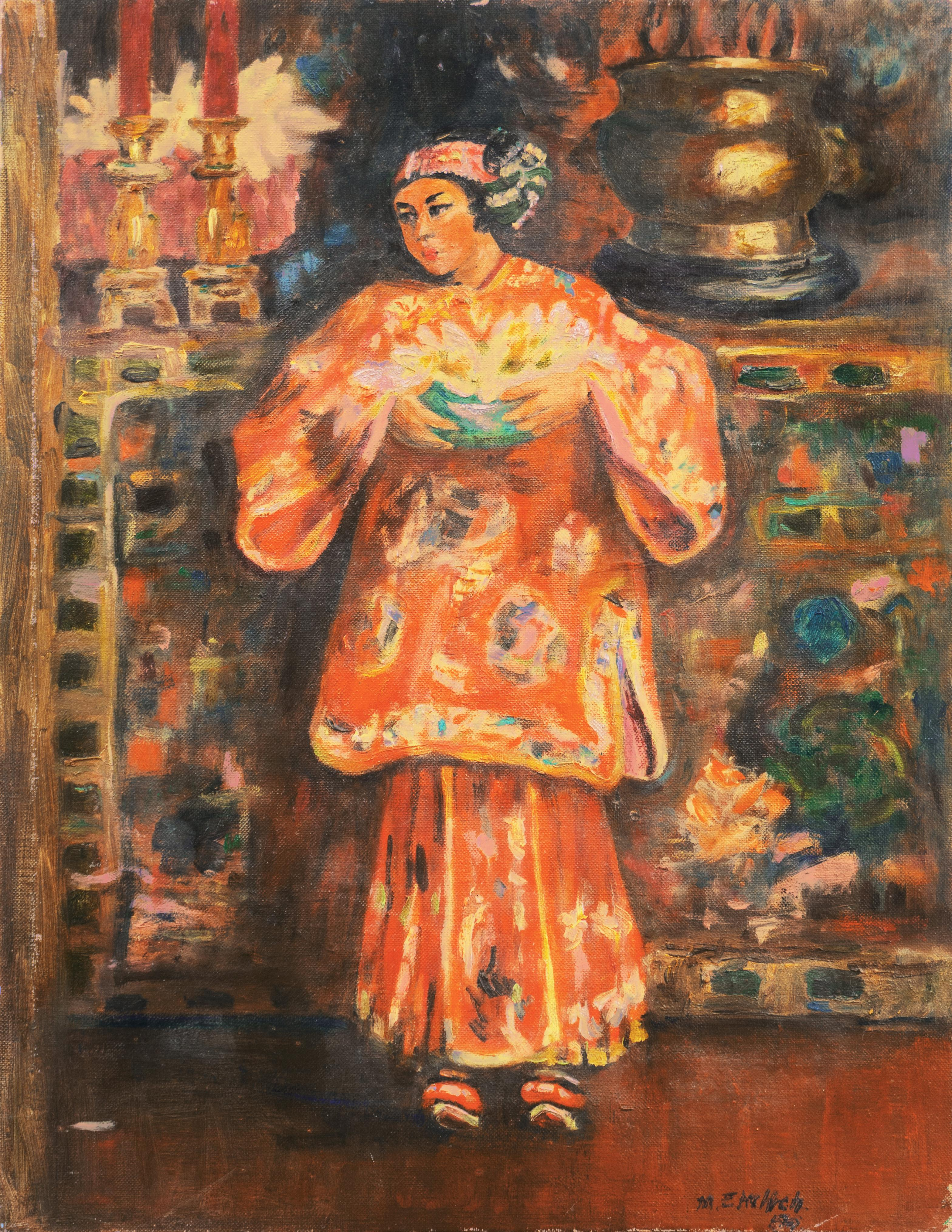 'Young Woman Holding a Vase of Lilies', Chinese, Chinoiserie