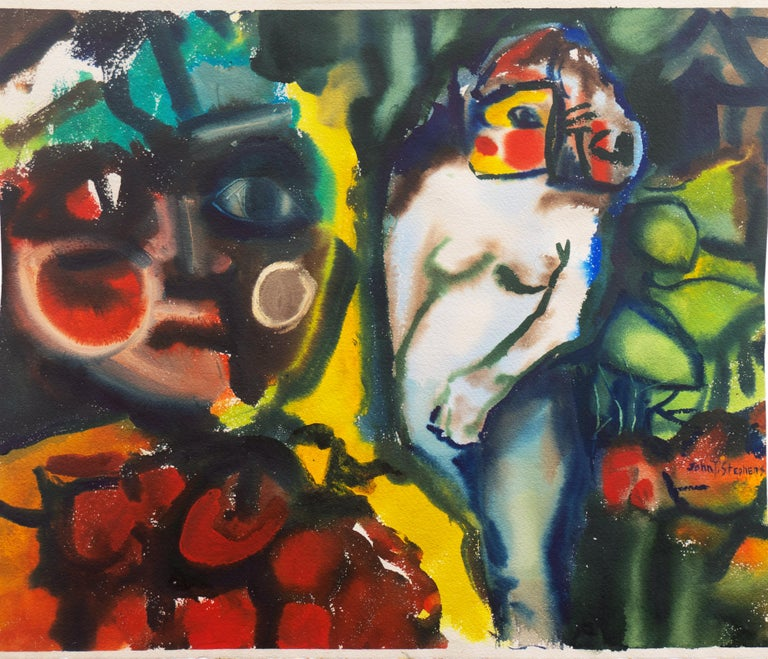 'Leaving the Garden of Eden', Mid-century American Expressionist, Adam and Eve - Art by John T. Stephens