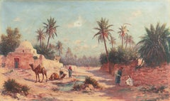 'Camels at a Tunisian Oasis', French School Orientalism, North African, Romantic