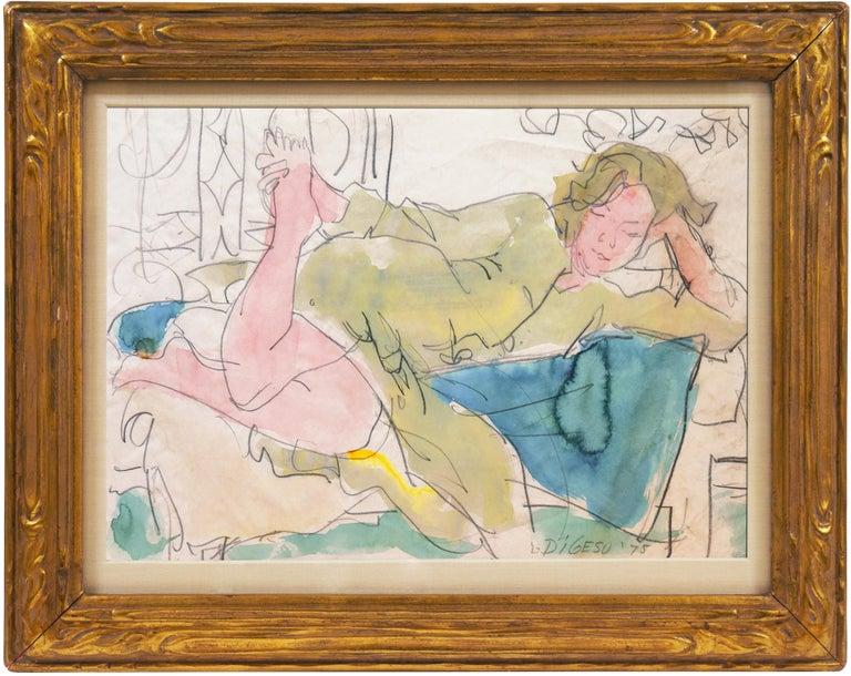 Victor Di Gesu Figurative Art - California Post-Impressionist 'Woman Reclining' Louvre, Académie Chaumière, SFAA