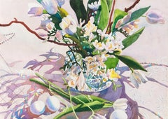 'Easter Basket', Woman Artist, Still Life of White Tulips and Freesia