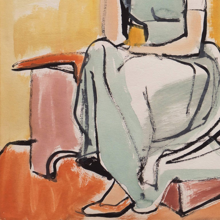 Certification of Authenticity stamped verso for Jerry Opper (American, 1914-2014).  A lyrical painting of a young woman shown seated in an interior with her chin resting pensively on her hand.  Born in Cleveland, Ohio, this California painter and