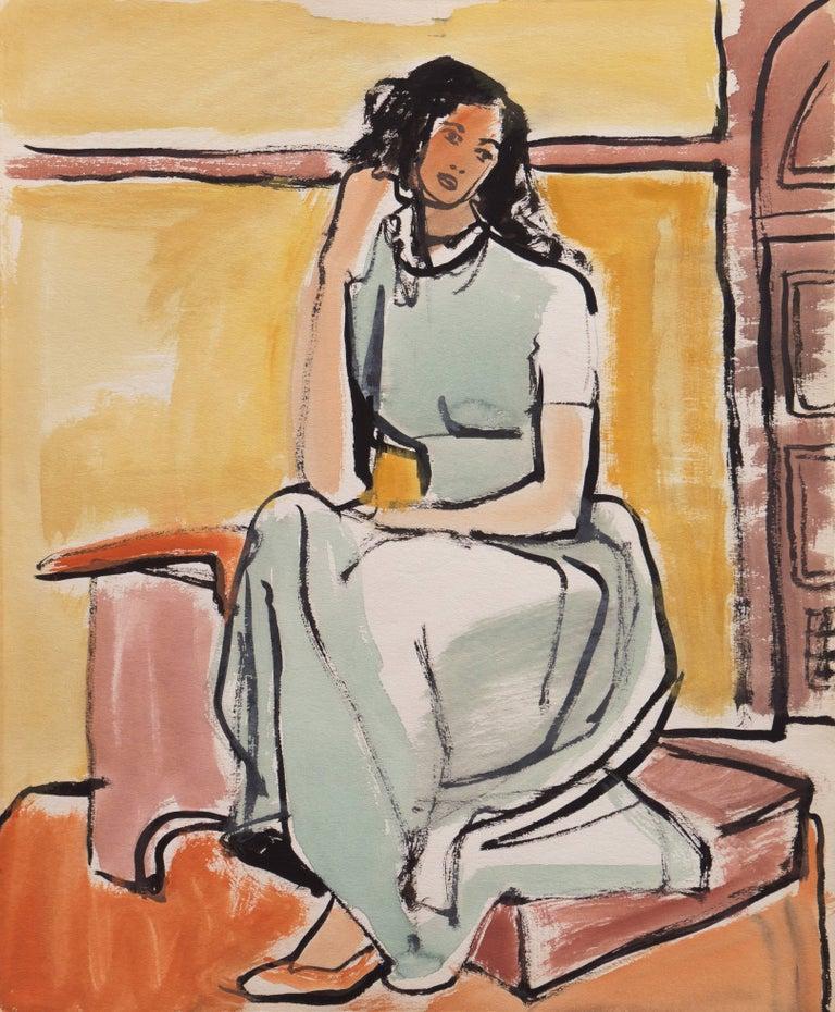 Jerry Opper Figurative Art - 'Young Woman Seated', Cincinnati Art Museum, Brooklyn Museum, San Francisco