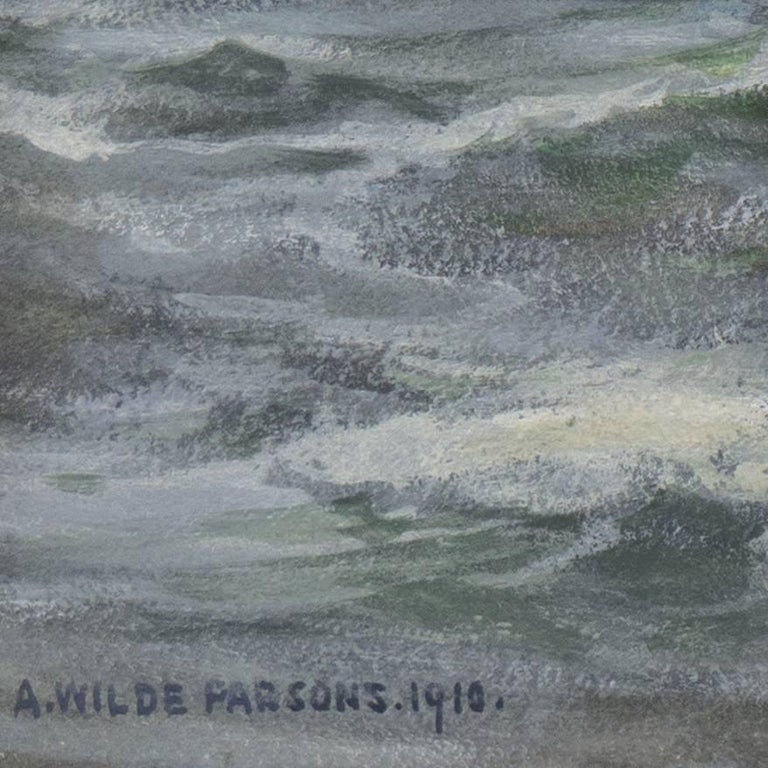 'Rescue at Sea', English Seascape, Royal Society of British Artists - Gray Landscape Art by Arthur Wilde Parsons